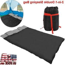 2-in-1 Double 2 Person Sleeping Bag Waterproof w/2 Pillows C