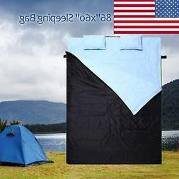 """2 Person Double Camping Hiking Sleeping Bag 86""""x60"""" Outdoor"""