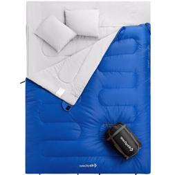 KingCamp Queen Size Warm Sleeping Bag 26 F/-3C with 2 Pillow
