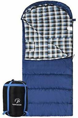 REDCAMP Cotton Flannel Sleeping Bag for Adults 23/32F Comfor