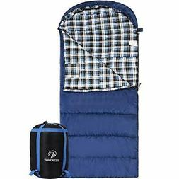 REDCAMP Cotton Flannel Sleeping Bag for Adults, 23/32F Comfo