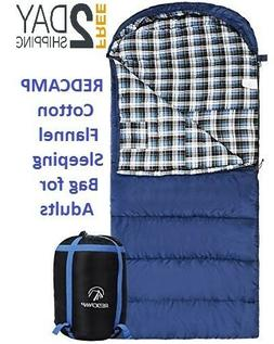 REDCAMP Cotton Flannel Sleeping Bag for Adults Envelope with