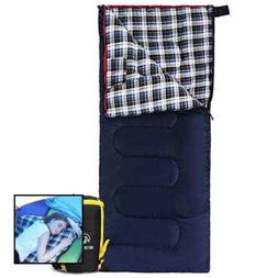 Cotton Flannel Sleeping Bag For Camping 41F/5C Cold Weather