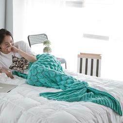Cute Mermaid Tail Woolen Knitted Blankets Kids/adults Comfor