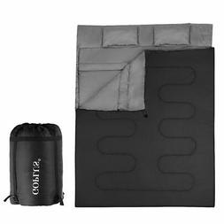 Double 2 Person Sleeping Bag Waterproof w/ 2 Pillows Camping