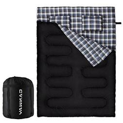 Canway Double Sleeping Bag Flannel Sleeping Bags With 2 Pill