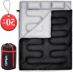 Ohuhu Double Sleeping Bag with 2 Pillows and A Carrying Bag,