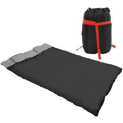 2-in-1 Double Person Sleeping Bag with Two Pillows For Adult