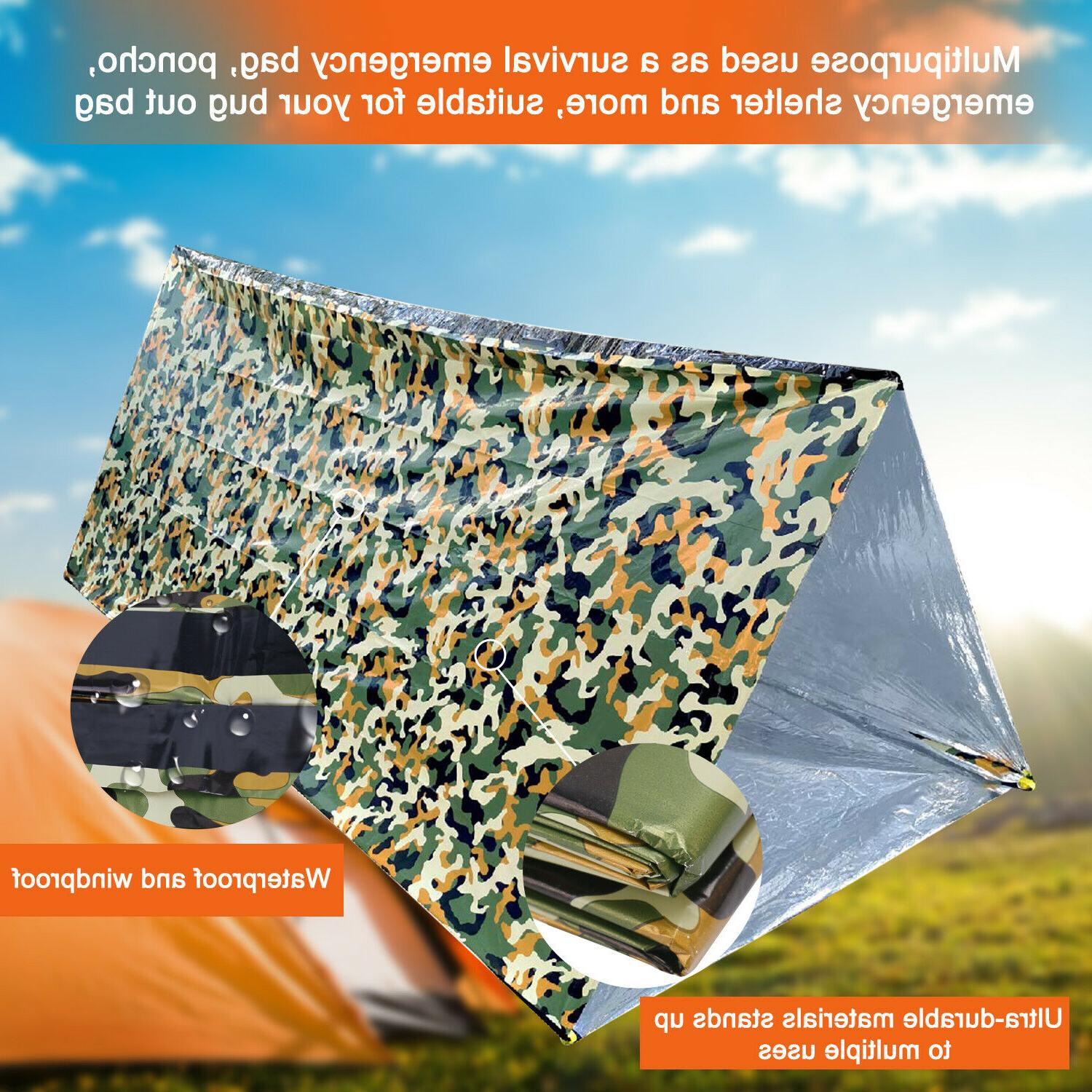 Camouflage Emergency Survival Bag Thermal Reusable Camping