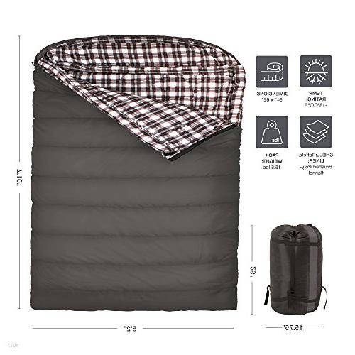 TETON 0F Queen Bag; Warm and Comfortable; Double Sleeping Bag for Sack Included