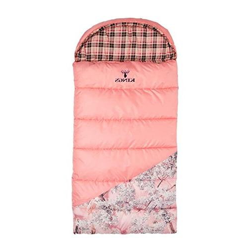 King's +25-Degree Sleeping Bag, Pink/Pink Camo Accents