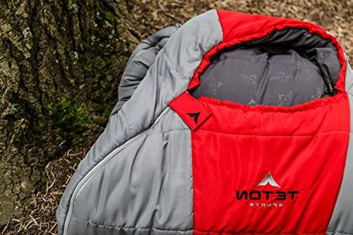 TETON Tracker Ultralight Mummy Lightweight Backpacking Hiking and Camping All Sleep Comfortably Anywhere; Red/Grey