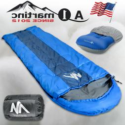 Lightweight Envelope Sleeping Bag+Inflatable Pillow for Outd