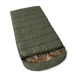 30F Flannel green camo Hooded oversize Sleeping Bag camping